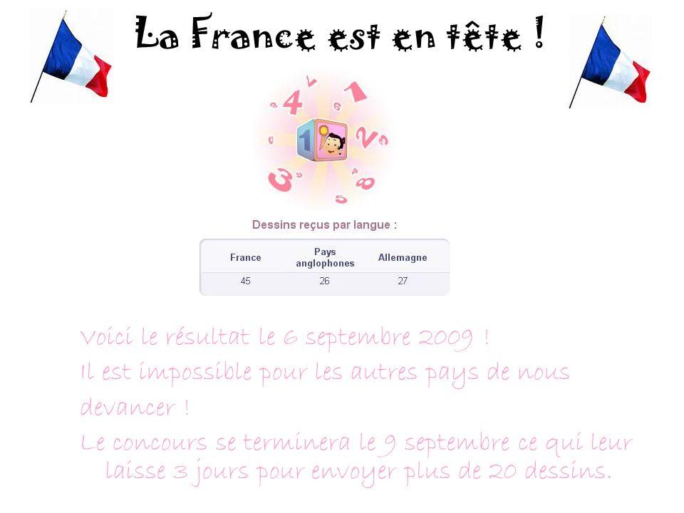 La France est en tête ! Voici le résultat le 6 septembre 2009 ! Il est impossible pour les autres pays de nous devancer ! Le concours se terminera le