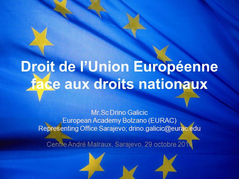 Directives UE: supériorité au droit national.