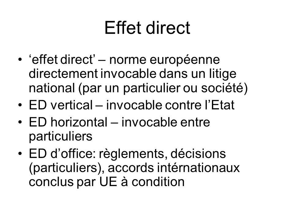 Effet direct 'effet direct' – norme européenne directement invocable dans un litige national (par un particulier ou société) ED vertical – invocable contre l'Etat ED horizontal – invocable entre particuliers ED d'office: règlements, décisions (particuliers), accords intérnationaux conclus par UE à condition