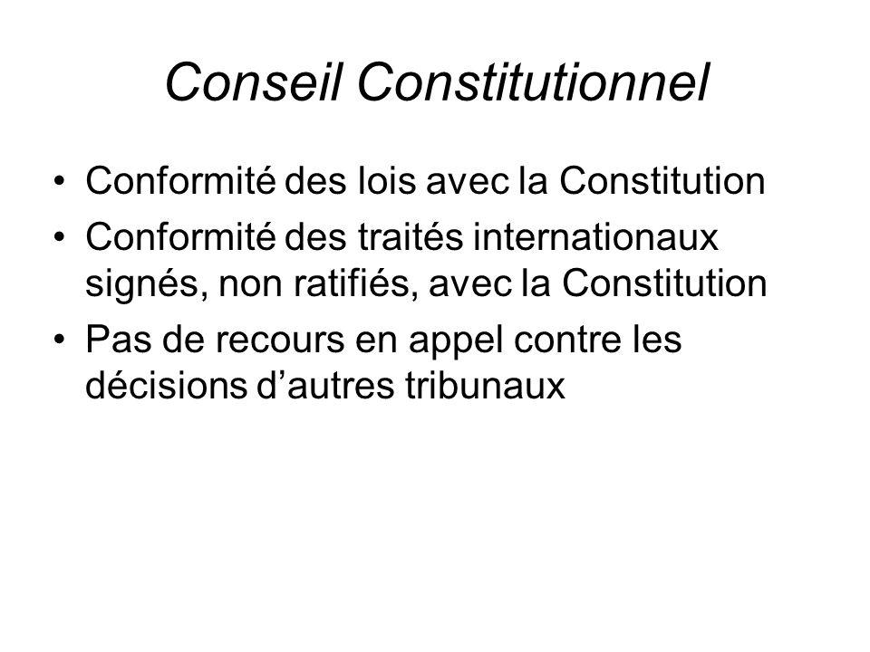 Conseil Constitutionnel Conformité des lois avec la Constitution Conformité des traités internationaux signés, non ratifiés, avec la Constitution Pas de recours en appel contre les décisions d'autres tribunaux