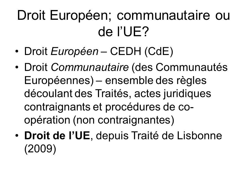 Droit de l'UE Droit primaire de l'UE 1) Traité sur l'UE (Lisbonne 2009) 2) Traité sur le fonctionnement de l'UE (T.