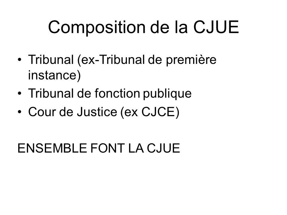 Composition de la CJUE Tribunal (ex-Tribunal de première instance) Tribunal de fonction publique Cour de Justice (ex CJCE) ENSEMBLE FONT LA CJUE