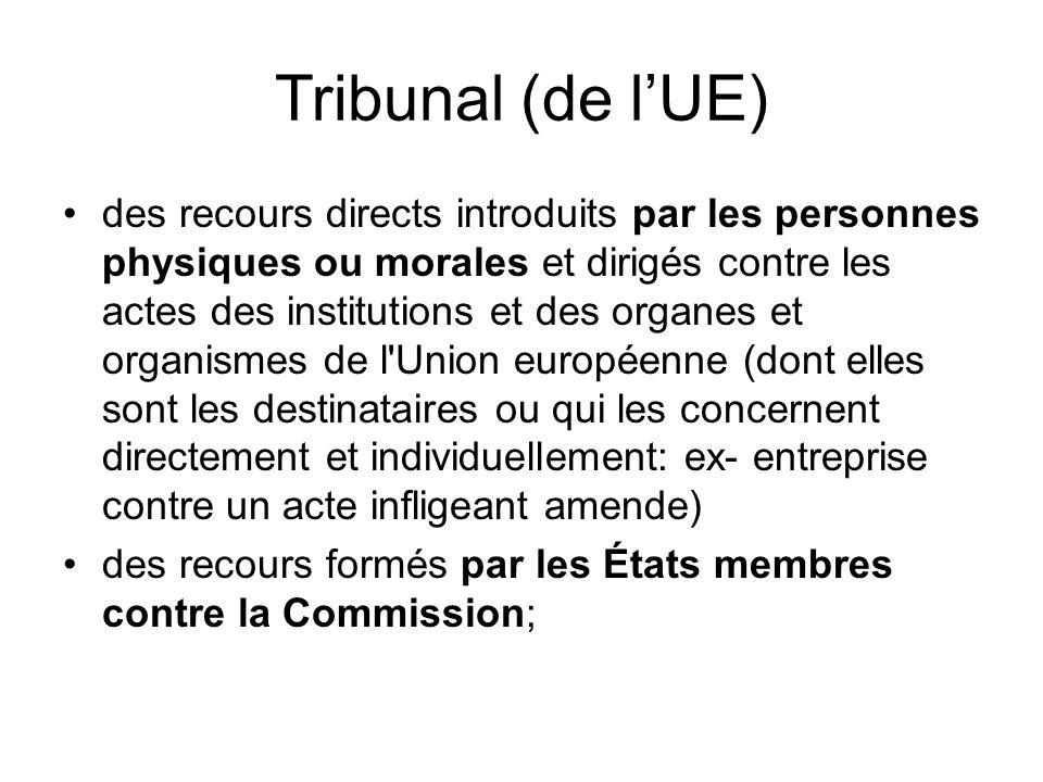 Tribunal (de l'UE) des recours directs introduits par les personnes physiques ou morales et dirigés contre les actes des institutions et des organes et organismes de l Union européenne (dont elles sont les destinataires ou qui les concernent directement et individuellement: ex- entreprise contre un acte infligeant amende) des recours formés par les États membres contre la Commission;