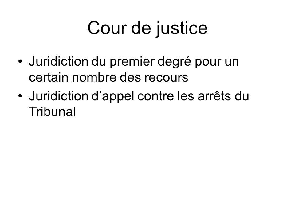 Cour de justice Juridiction du premier degré pour un certain nombre des recours Juridiction d'appel contre les arrêts du Tribunal