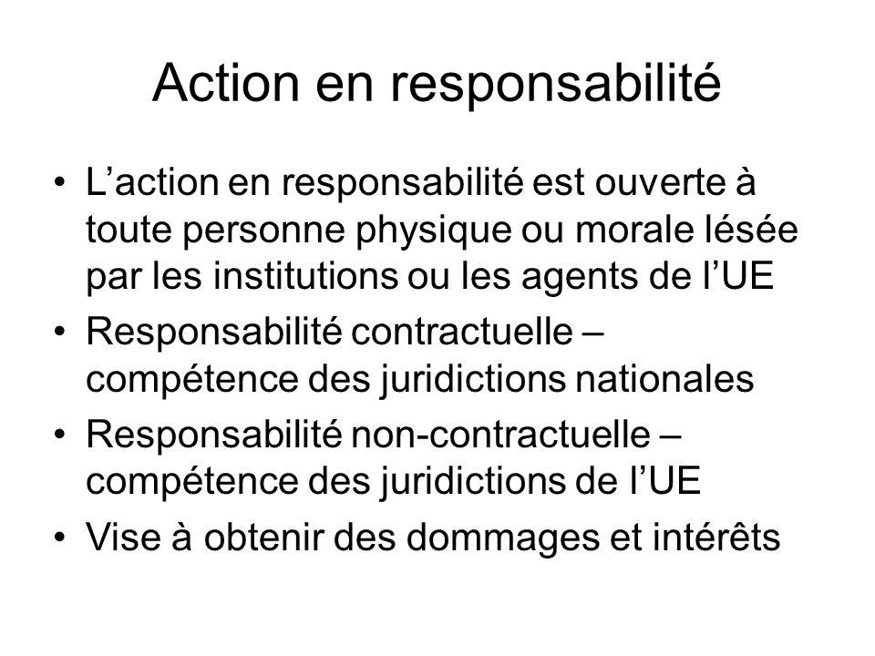 Action en responsabilité L'action en responsabilité est ouverte à toute personne physique ou morale lésée par les institutions ou les agents de l'UE Responsabilité contractuelle – compétence des juridictions nationales Responsabilité non-contractuelle – compétence des juridictions de l'UE Vise à obtenir des dommages et intérêts