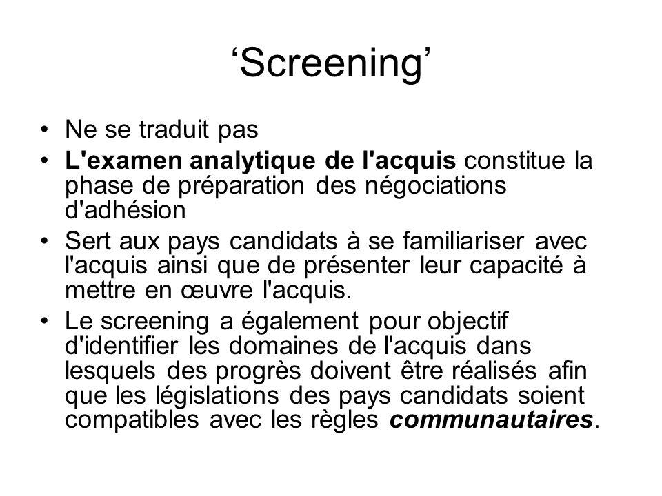 'Screening' Ne se traduit pas L examen analytique de l acquis constitue la phase de préparation des négociations d adhésion Sert aux pays candidats à se familiariser avec l acquis ainsi que de présenter leur capacité à mettre en œuvre l acquis.