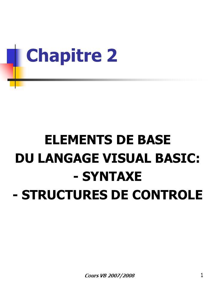 Cours VB 2007/2008 1 Chapitre 2 ELEMENTS DE BASE DU LANGAGE VISUAL BASIC: - SYNTAXE - STRUCTURES DE CONTROLE