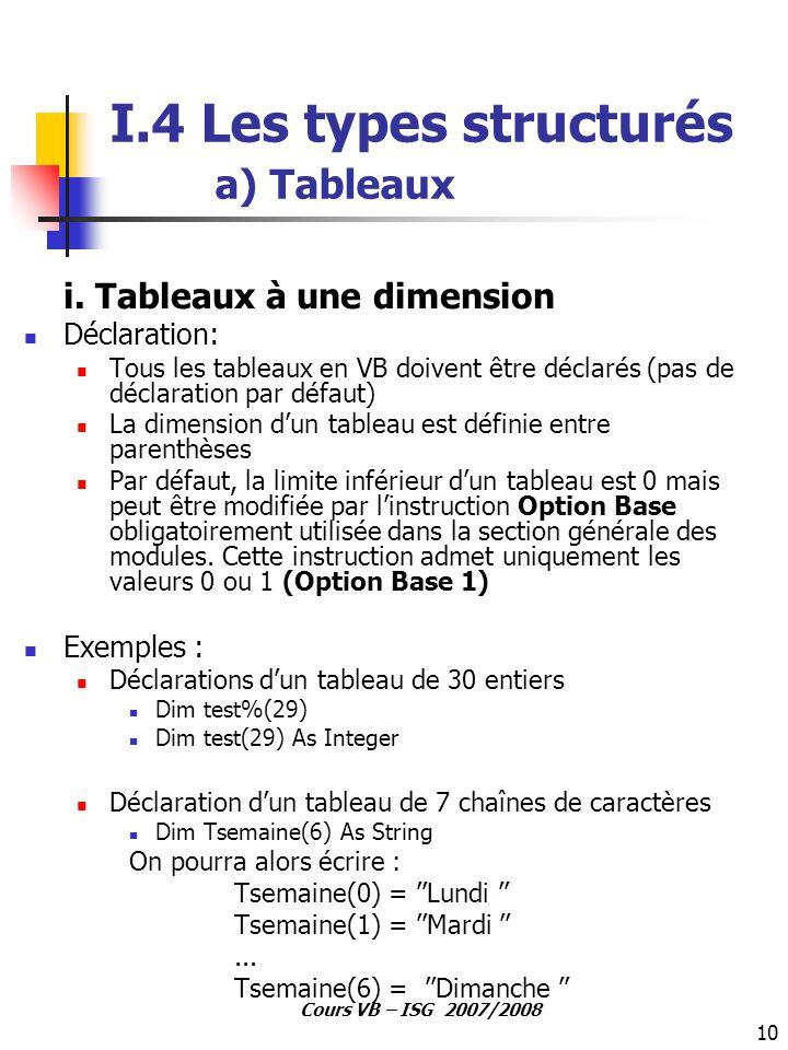 10 Cours VB – ISG 2007/2008 I.4 Les types structurés a) Tableaux i. Tableaux à une dimension Déclaration: Tous les tableaux en VB doivent être déclaré