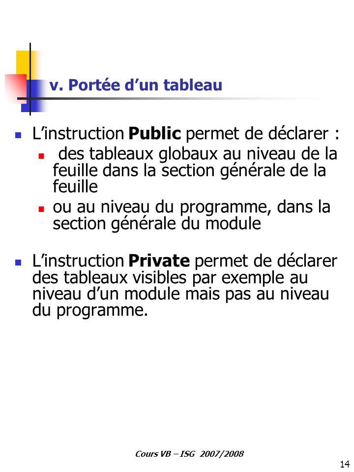 14 Cours VB – ISG 2007/2008 v. Portée d'un tableau L'instruction Public permet de déclarer : des tableaux globaux au niveau de la feuille dans la sect