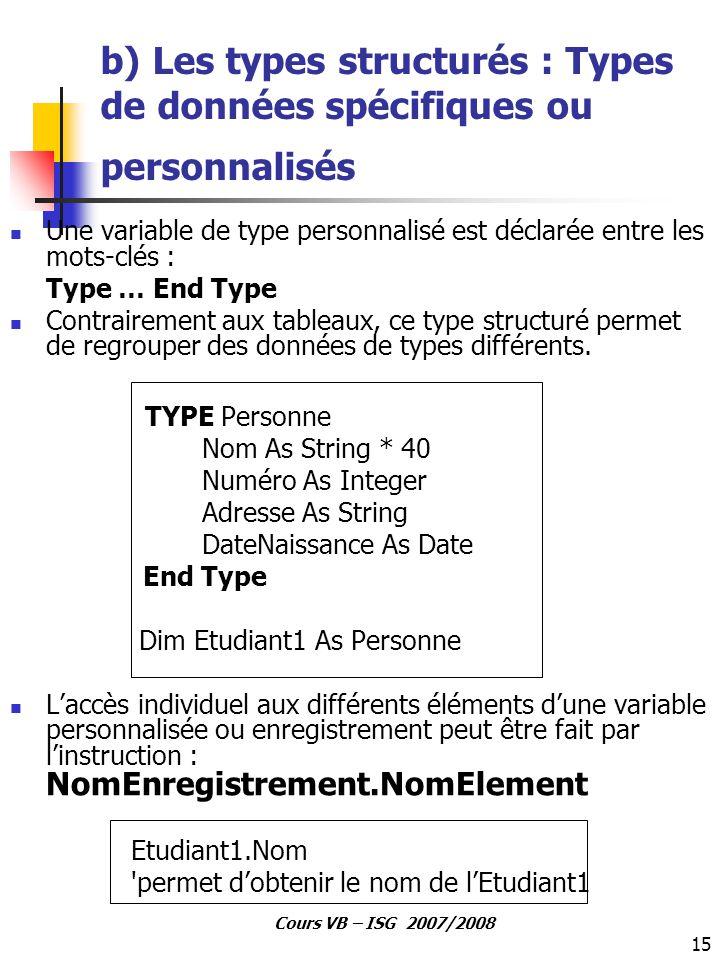 15 Cours VB – ISG 2007/2008 b) Les types structurés : Types de données spécifiques ou personnalisés Une variable de type personnalisé est déclarée ent