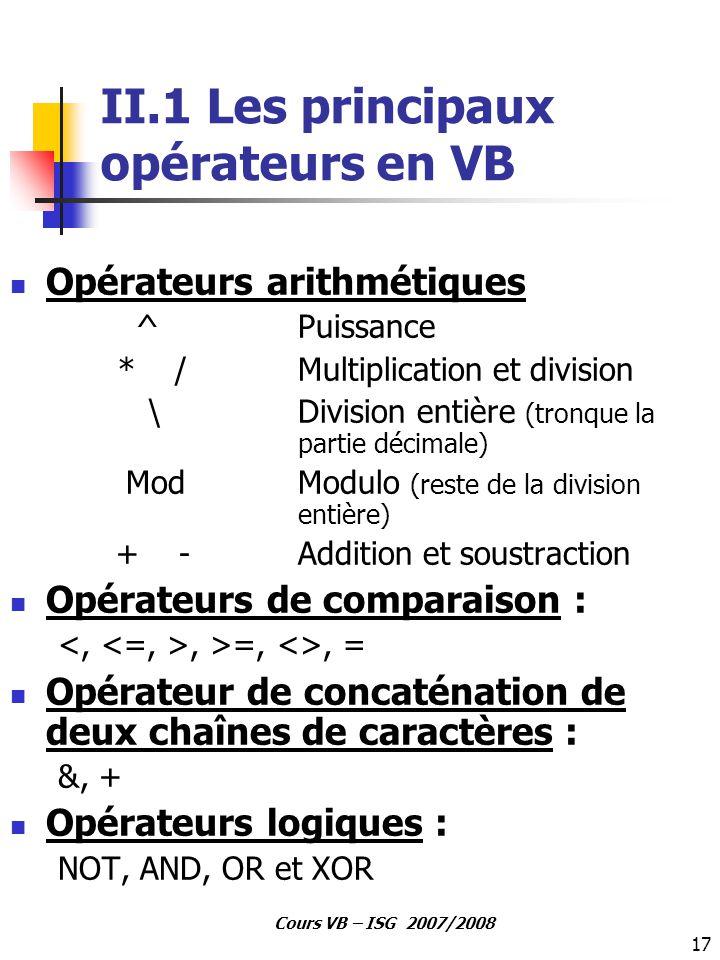 17 Cours VB – ISG 2007/2008 II.1 Les principaux opérateurs en VB Opérateurs arithmétiques ^ Puissance * / Multiplication et division \ Division entièr