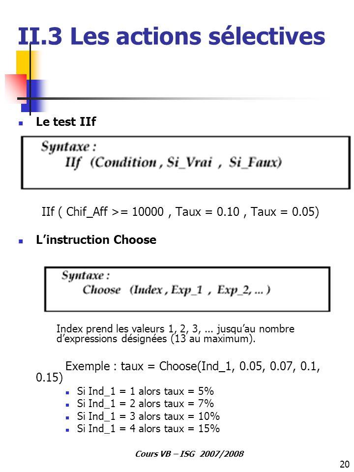 20 Cours VB – ISG 2007/2008 Le test IIf IIf ( Chif_Aff >= 10000, Taux = 0.10, Taux = 0.05) L'instruction Choose Index prend les valeurs 1, 2, 3,... ju