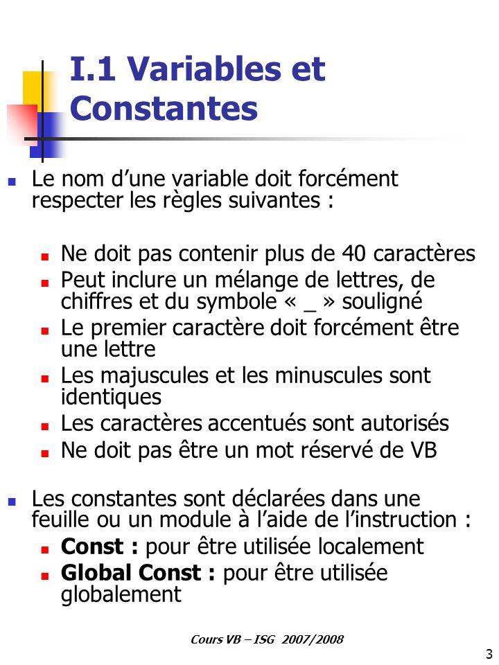 3 Cours VB – ISG 2007/2008 I.1 Variables et Constantes Le nom d'une variable doit forcément respecter les règles suivantes : Ne doit pas contenir plus