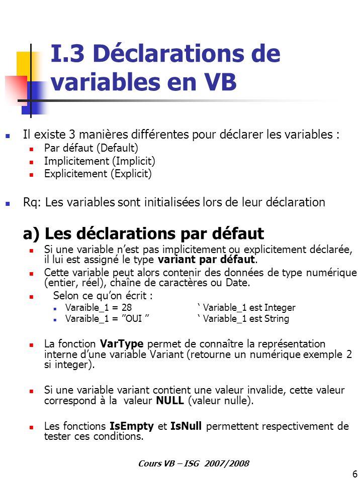 6 Cours VB – ISG 2007/2008 I.3 Déclarations de variables en VB Il existe 3 manières différentes pour déclarer les variables : Par défaut (Default) Imp