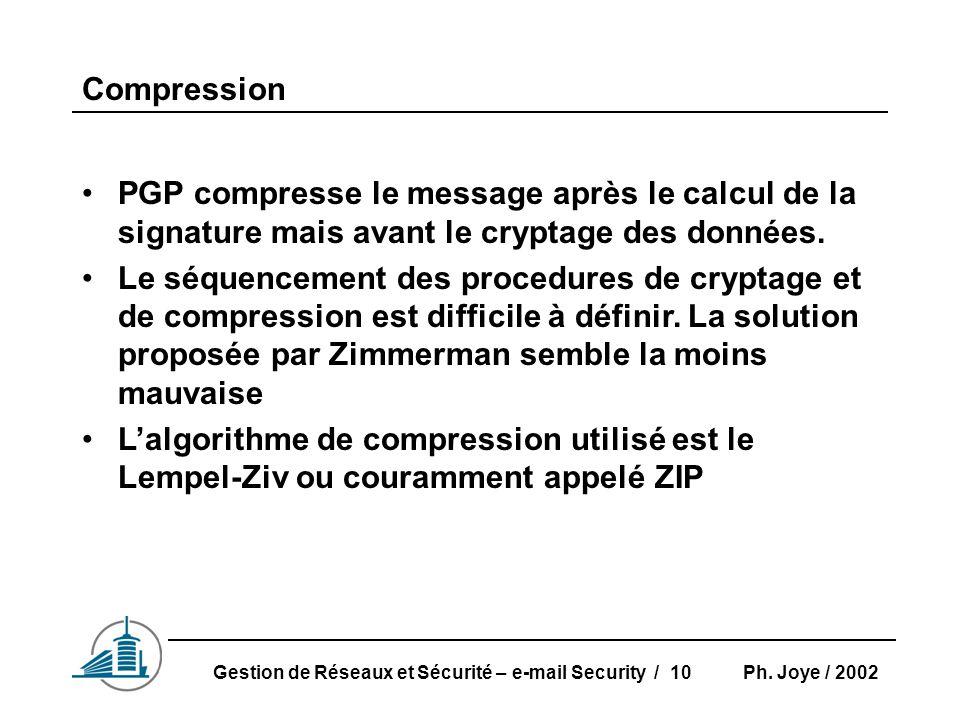Ph. Joye / 2002Gestion de Réseaux et Sécurité – e-mail Security / 10 Compression PGP compresse le message après le calcul de la signature mais avant l
