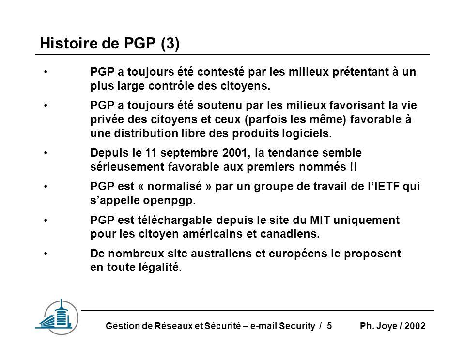 Ph. Joye / 2002Gestion de Réseaux et Sécurité – e-mail Security / 5 Histoire de PGP (3) PGP a toujours été contesté par les milieux prétentant à un pl