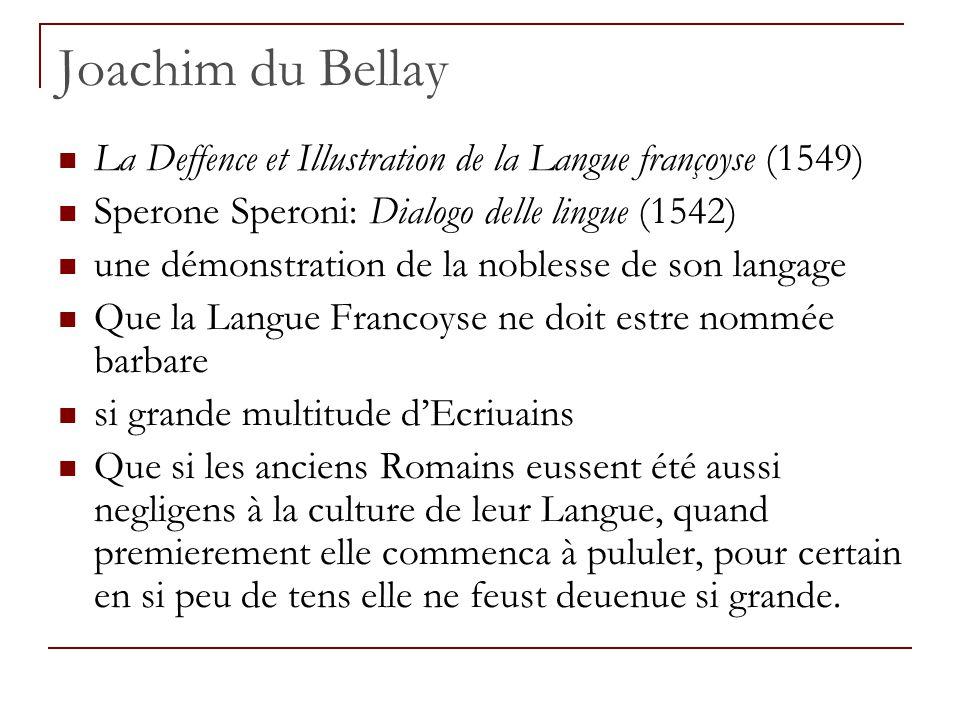 Joachim du Bellay La Deffence et Illustration de la Langue françoyse (1549) Sperone Speroni: Dialogo delle lingue (1542) une démonstration de la noble