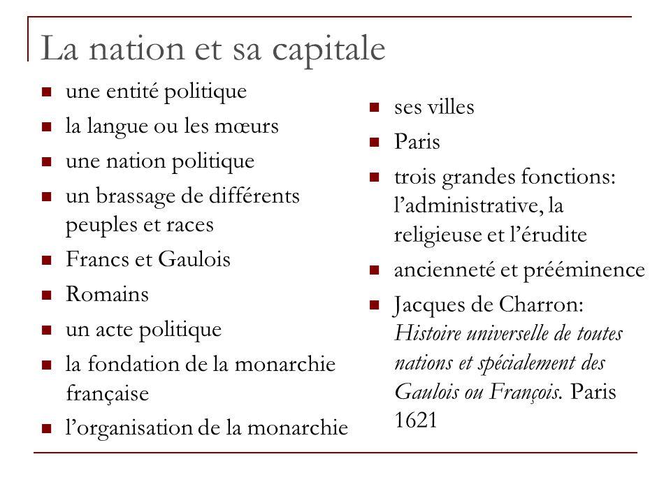 La nation et sa capitale une entité politique la langue ou les mœurs une nation politique un brassage de différents peuples et races Francs et Gaulois