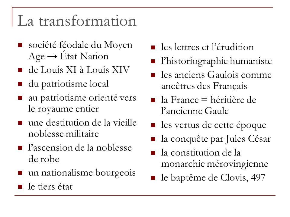 La transformation société féodale du Moyen Age → État Nation de Louis XI à Louis XIV du patriotisme local au patriotisme orienté vers le royaume entie