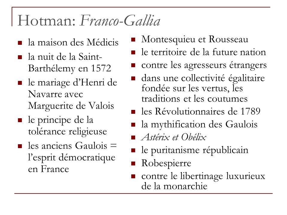 Les attaques anti-italien jusqu'à 1580 environ anti-espagnol 1580-93 Catherine de Médicis la Ligue la légèreté des Français l'instabilité des Italiens la grossièreté des Allemands le caractère hautain des Espagnols François II, Charles IX et Henri III