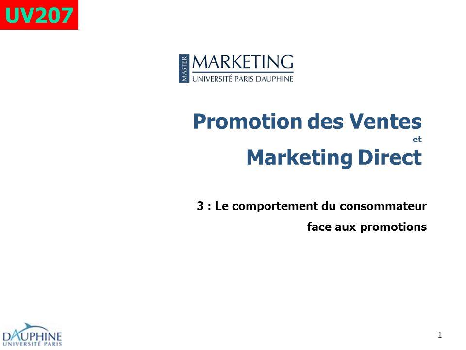 1 Promotion des Ventes et Marketing Direct 3 : Le comportement du consommateur face aux promotions UV207