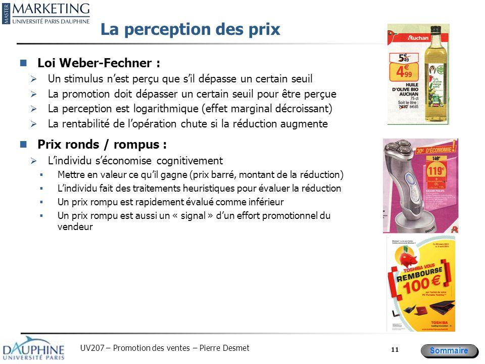 Sommaire UV207 – Promotion des ventes – Pierre Desmet La perception des prix Loi Weber-Fechner :  Un stimulus n'est perçu que s'il dépasse un certain