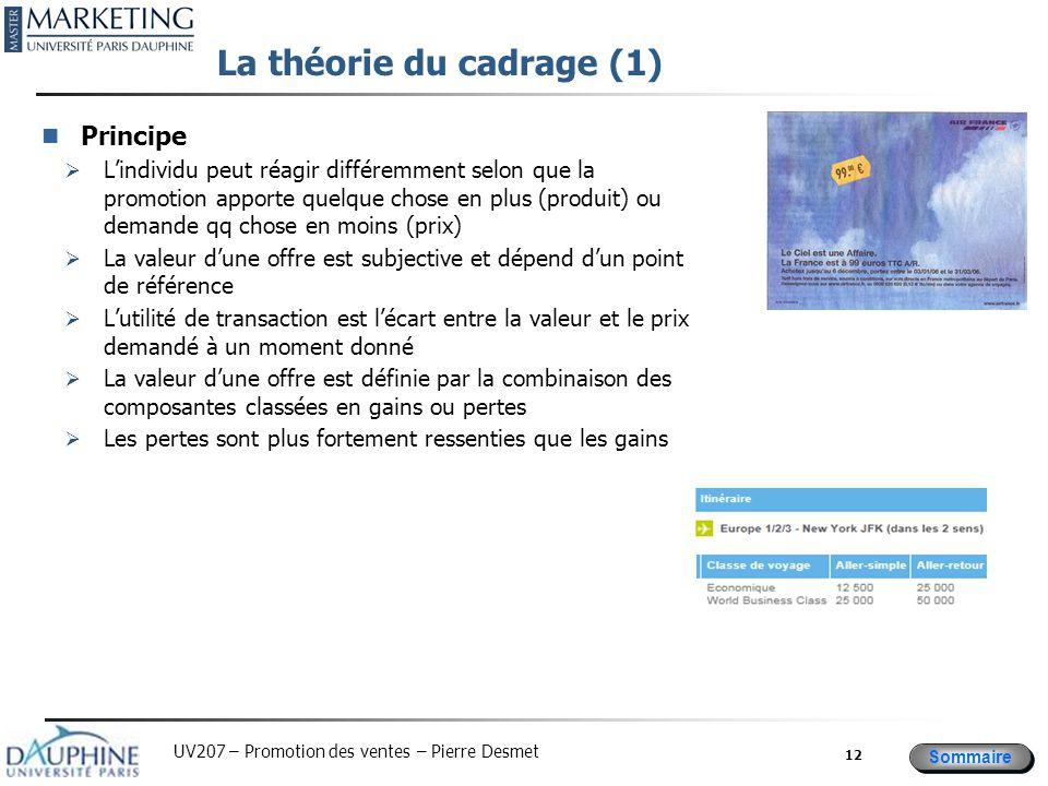 Sommaire UV207 – Promotion des ventes – Pierre Desmet La théorie du cadrage (1) Principe  L'individu peut réagir différemment selon que la promotion
