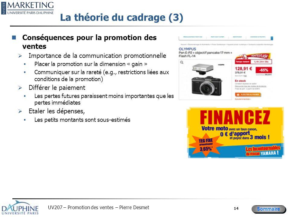 Sommaire UV207 – Promotion des ventes – Pierre Desmet La théorie du cadrage (3) Conséquences pour la promotion des ventes  Importance de la communica