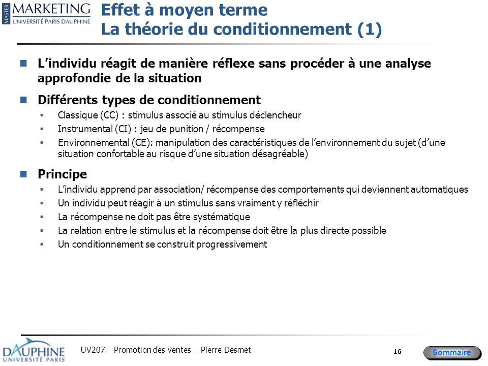 Sommaire UV207 – Promotion des ventes – Pierre Desmet Effet à moyen terme La théorie du conditionnement (1) L'individu réagit de manière réflexe sans