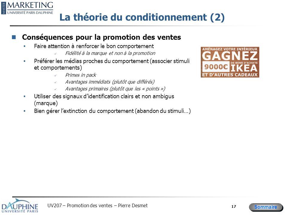 Sommaire UV207 – Promotion des ventes – Pierre Desmet La théorie du conditionnement (2) Conséquences pour la promotion des ventes  Faire attention à