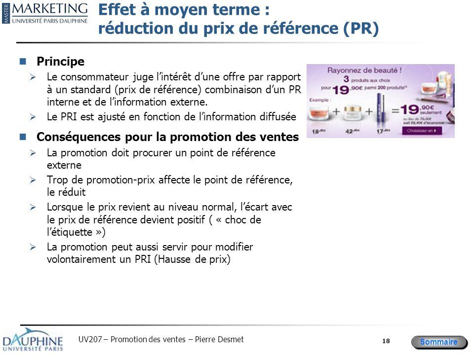 Sommaire UV207 – Promotion des ventes – Pierre Desmet Effet à moyen terme : réduction du prix de référence (PR) Principe  Le consommateur juge l'inté
