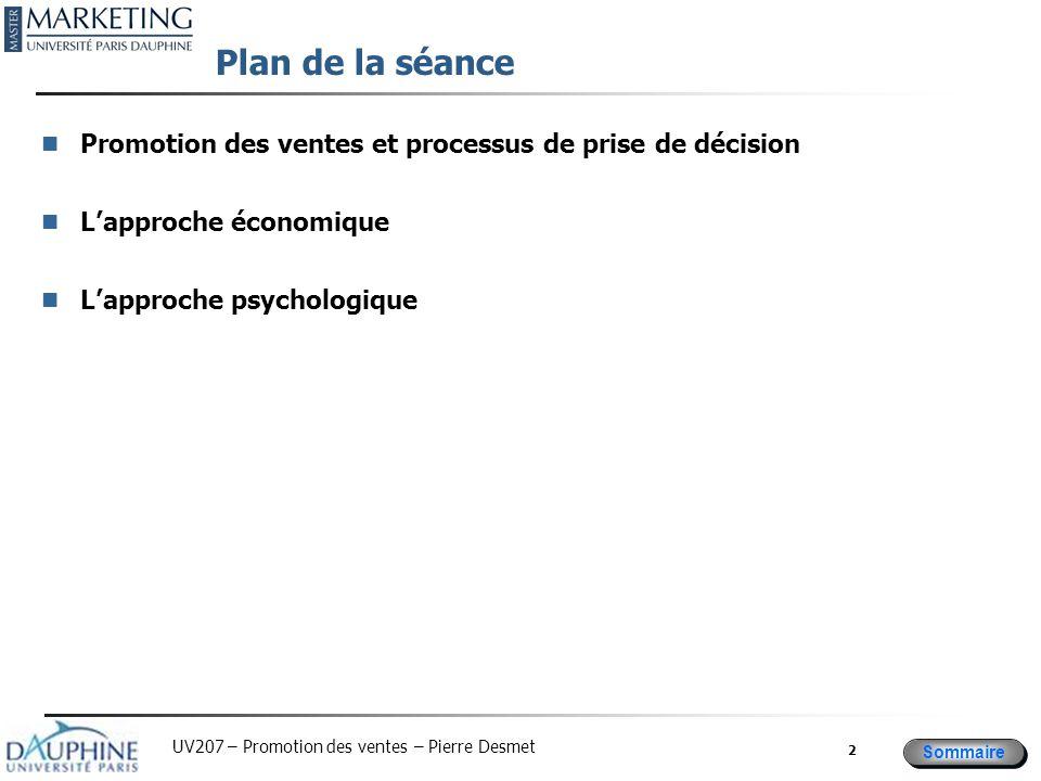 Sommaire UV207 – Promotion des ventes – Pierre Desmet 2 Plan de la séance Promotion des ventes et processus de prise de décision L'approche économique