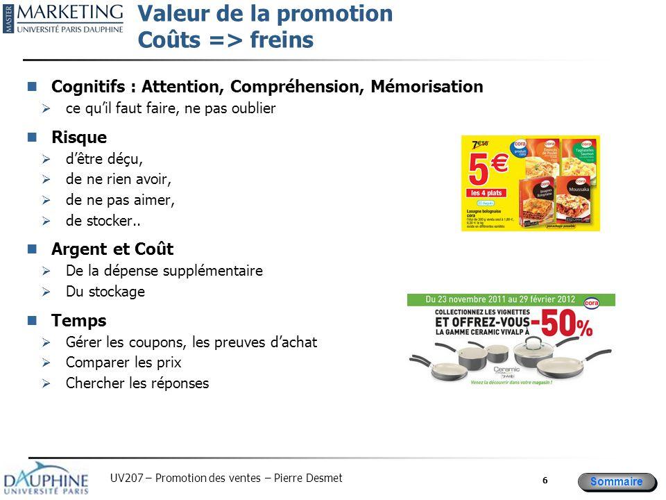 Sommaire UV207 – Promotion des ventes – Pierre Desmet Valeur de la promotion Coûts => freins Cognitifs : Attention, Compréhension, Mémorisation  ce q
