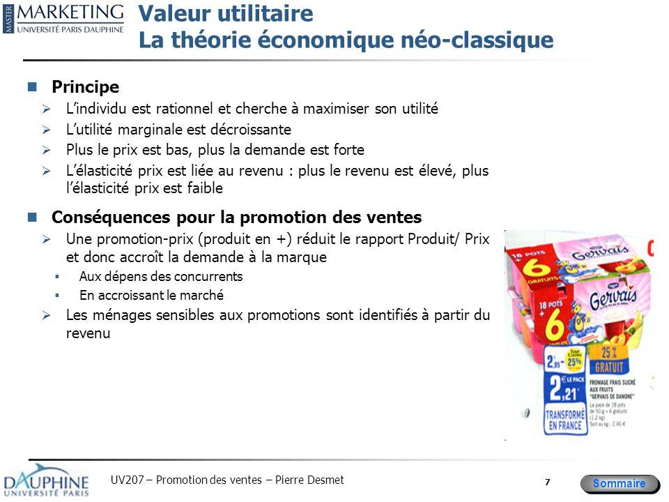 Sommaire UV207 – Promotion des ventes – Pierre Desmet Le groupage (bundling) Principe :  Le prix (P) ne correspond pas au prix de réserve (PR: prix maximum accepté)  => l'écart est le « surplus » = PR-P >0  En groupant deux produits, le « surplus » sur un produit permet de financer l'achat d'un autre dont le prix est supérieur au prix de réserve (S1>(P2-PR2); ce qui accroît la demande Conséquences pour la promotion des ventes  Lot homogène avec baisse de prix  Anticipation d'achat et de stockage  Lot hétérogène (surtout complémentaires)  Utilisation des prix de référence unitaires  Augmentation de la demande  Amélioration de la performance des produits 8