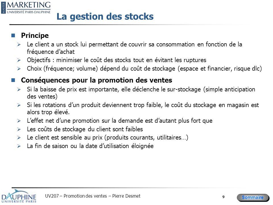 Sommaire UV207 – Promotion des ventes – Pierre Desmet La gestion des stocks Principe  Le client a un stock lui permettant de couvrir sa consommation