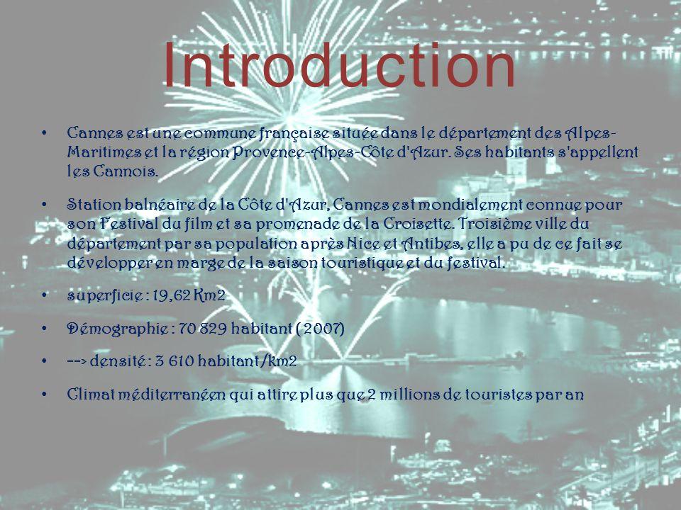 Introduction Cannes est une commune française située dans le département des Alpes- Maritimes et la région Provence-Alpes-Côte d'Azur. Ses habitants s