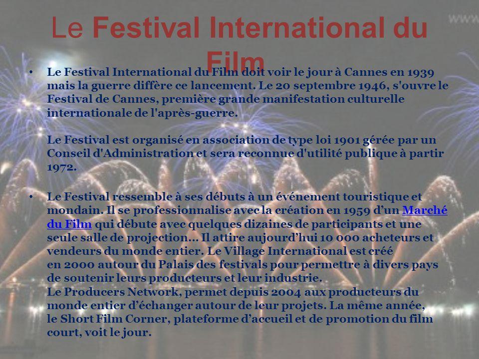 Le Festival International du Film Le Festival International du Film doit voir le jour à Cannes en 1939 mais la guerre diffère ce lancement. Le 20 sept
