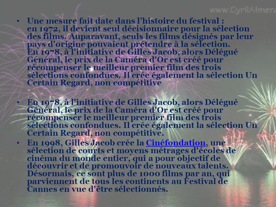 Une mesure fait date dans l'histoire du festival : en 1972, il devient seul décisionnaire pour la sélection des films.