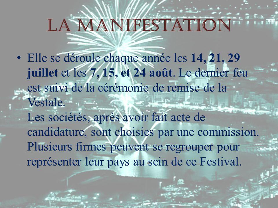 La manifestation Elle se déroule chaque année les 14, 21, 29 juillet et les 7, 15, et 24 août.