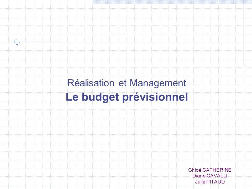 Chloé CATHERINE Diane CAVALLI Julie PITAUD Réalisation et Management Le budget prévisionnel