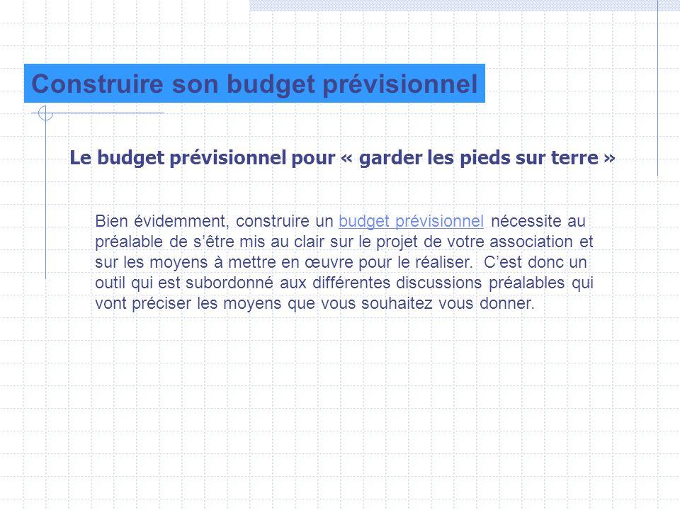 Le budget prévisionnel pour « garder les pieds sur terre » Construire son budget prévisionnel Bien évidemment, construire un budget prévisionnel néces
