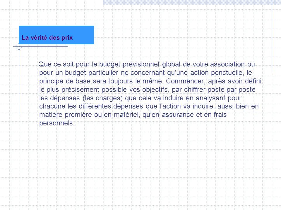 La vérité des prix Que ce soit pour le budget prévisionnel global de votre association ou pour un budget particulier ne concernant qu'une action ponct