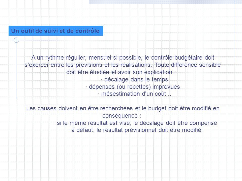 A un rythme régulier, mensuel si possible, le contrôle budgétaire doit s'exercer entre les prévisions et les réalisations. Toute différence sensible d