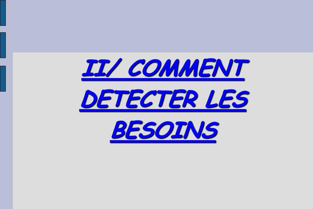 II/ COMMENT DETECTER LES BESOINS