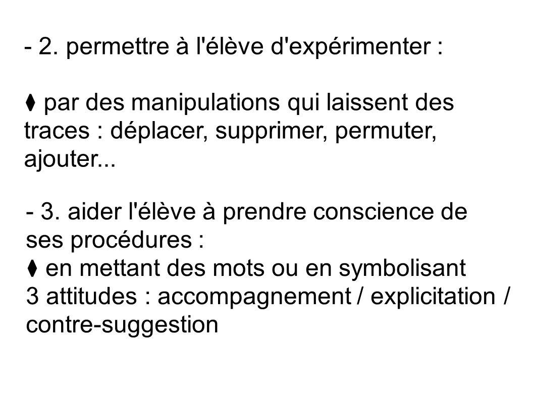 - 2. permettre à l'élève d'expérimenter : par des manipulations qui laissent des traces : déplacer, supprimer, permuter, ajouter... - 3. aider l'élève