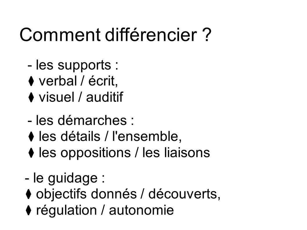 Comment différencier ? - les supports : verbal / écrit, visuel / auditif - les démarches : les détails / l'ensemble, les oppositions / les liaisons -