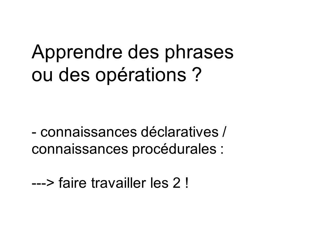 Apprendre des phrases ou des opérations ? - connaissances déclaratives / connaissances procédurales : ---> faire travailler les 2 !