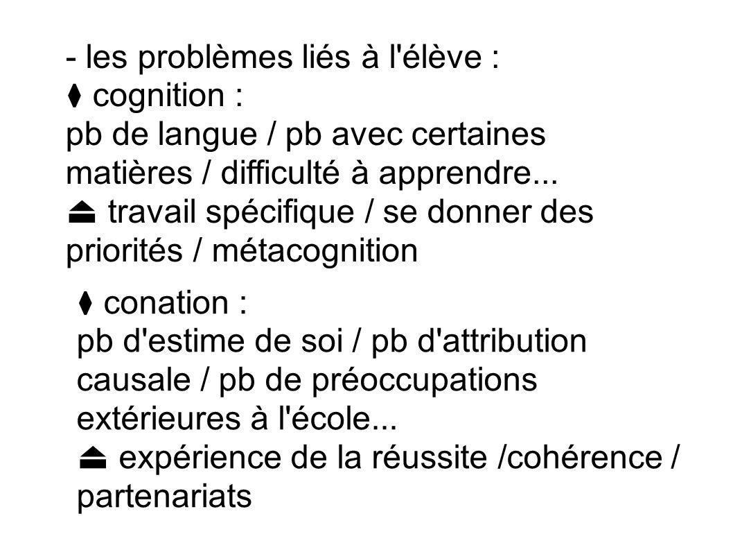 - les problèmes liés à l'élève : cognition : pb de langue / pb avec certaines matières / difficulté à apprendre... travail spécifique / se donner des