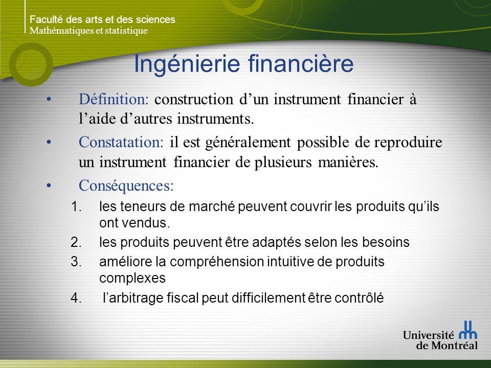 Faculté des arts et des sciences Mathématiques et statistique Ingénierie financière Définition: construction d'un instrument financier à l'aide d'autr