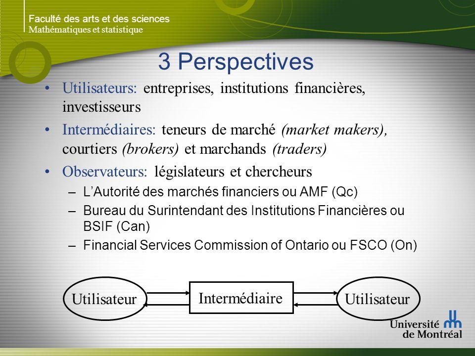 Faculté des arts et des sciences Mathématiques et statistique 3 Perspectives Utilisateurs: entreprises, institutions financières, investisseurs Interm